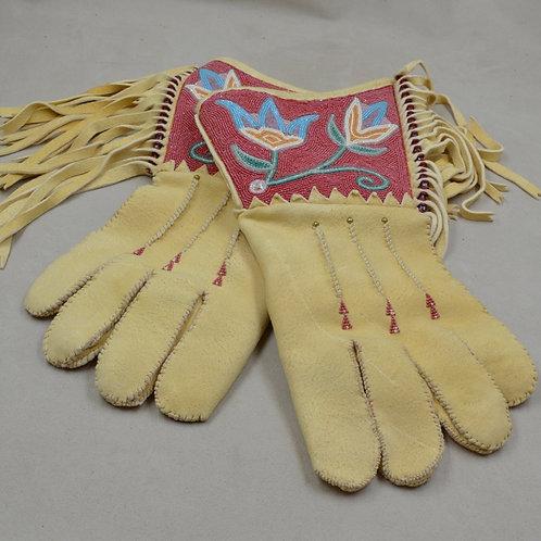 Hand-Beaded Gauntlet Bucksin Gloves by Hollis Chitto