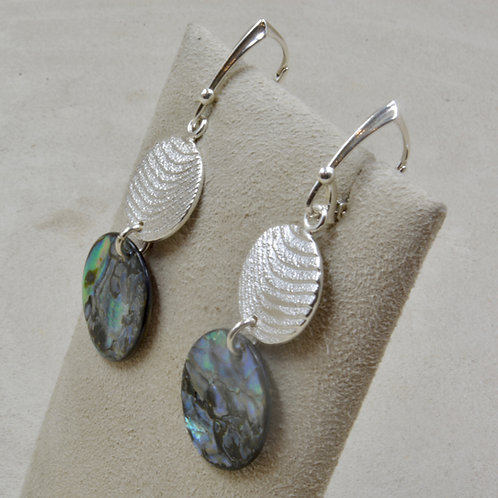 Cuttle Cast Circle Earrings w/ Abalone Shell by Althea Cajero