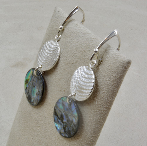 5fc0b9816 Cuttle Cast Circle Earrings w/ Abalone Shell by Althea Cajero