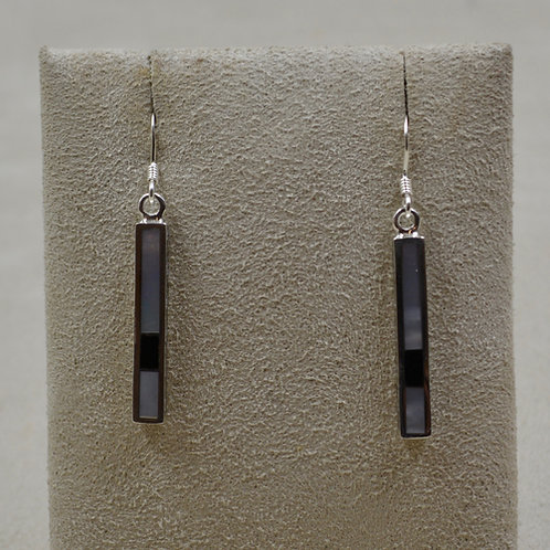 Mother of Pearl, Onyx, & S. Silver Dancing Stick Petite Earrings by Lente