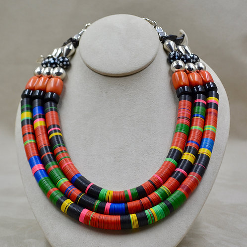 3 Strand Vulcanite, Coral, Eye Beads, & S. Silver Necklace by Melanie DeLuca