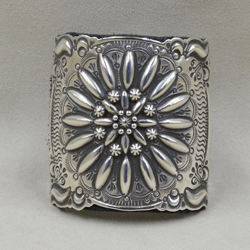 Sterling Silver Katoh-Lg Becenti on Leather Cuff by Shoofly 505