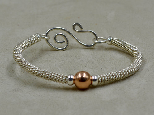 S. Silver & 14k Rose Gold Filled Bead Woven Bracelet by Sippican Designs