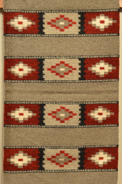 """Zapotec Red, Grey, Black and White Star Rug - 36"""" X 24"""""""