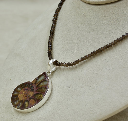 Ammonite & Sterling Silver Pendant by Sanchi & Filia