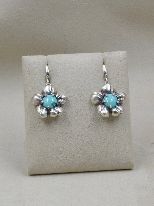 S. Silver Plum Flower Post Earrings w/ Chinese Turquoise Cabs by Reba Engel