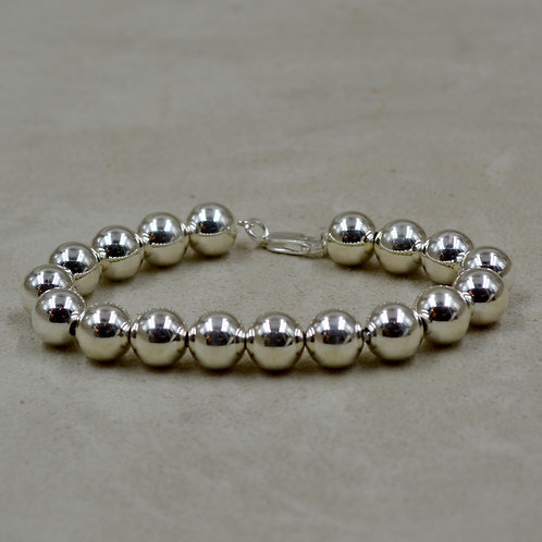 10mm Sterling Silver Beaded Bracelet by Sippecan Designs