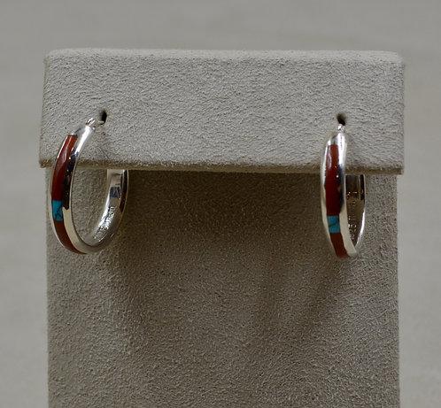 Turquoise, Coral, & Sterling Silver Petite Hoop Earrings by Lente