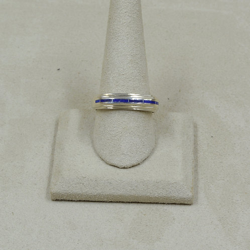 Lapis and Sterling Silver 8x Ring by GL Miller Studio