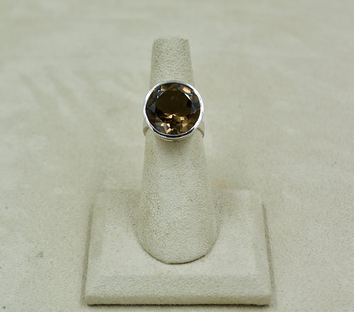 Smoky Quartz & Sterling Silver Faceted Round Cut 5x Ring by Sanchi & Filia