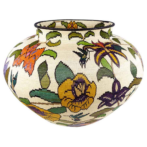 "Colorful Floral Wounaan Basket by Mitsuli Mejia - 15""W x 11""H"