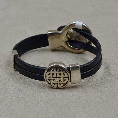 Black Celtic 2 Plain Sliders Plated Bracelet by Sippecan Designs