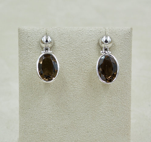 Smoky Quartz & Sterling Silver Faceted Oval Ball Post Earrings by Sanchi & Filia