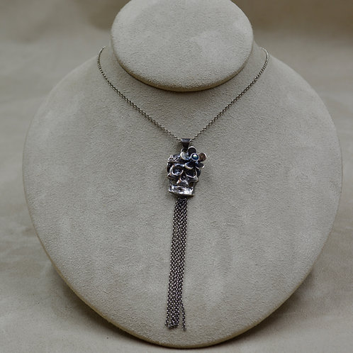 S. Silver and Blue Topaz Flower Skull and Fringe Necklace by Michele McMillan