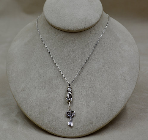 "Sterling Silver Hand with Key Necklace on 18"" Chain by Michele McMillan"