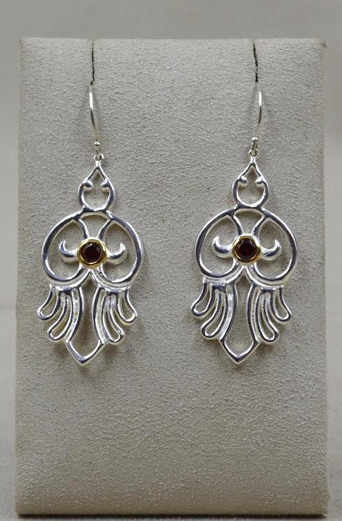 Sterling Silver Open Hamsa Bird Earrings w/ 18k Plate & Stone by Roulette 18