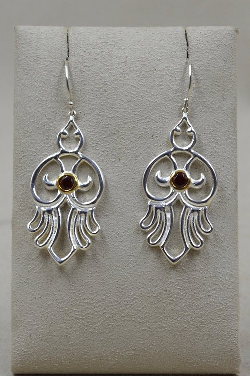Sterling Silver Open Hamsa Bird Earrings w/ 18k Plate & Stone by Roulette 18