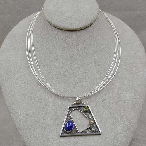 Argentium Silver, Lapis, Peridot & Saphire Pendant Necklace by Michele McMillan
