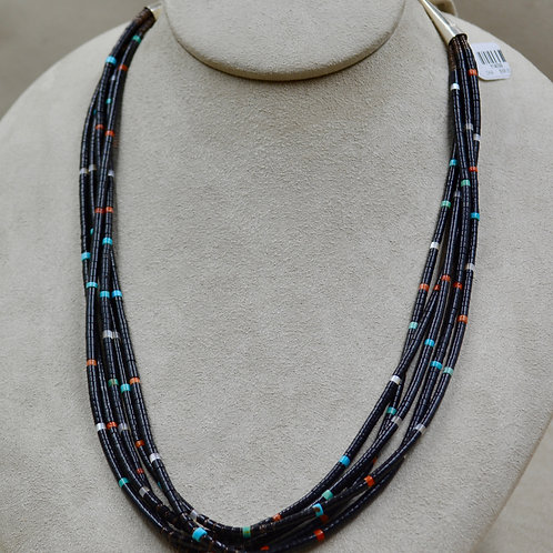 5 Strand Jet, Coral, Turquoise, & Olive Shell Necklace by Kenneth Aguilar