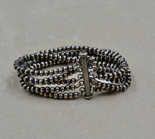 Navajo Pearls Oxidized Sterling Silver 5 Strand 4mm Beaded Bracelet