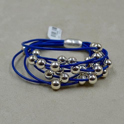 Cobalt Blue Multi-Strand Sterling Silver Beaded Bracelet by Sippecan Designs
