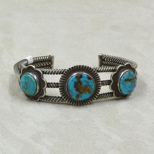 Vintage 30's Navajo Twist Wire Turquoise Cuff