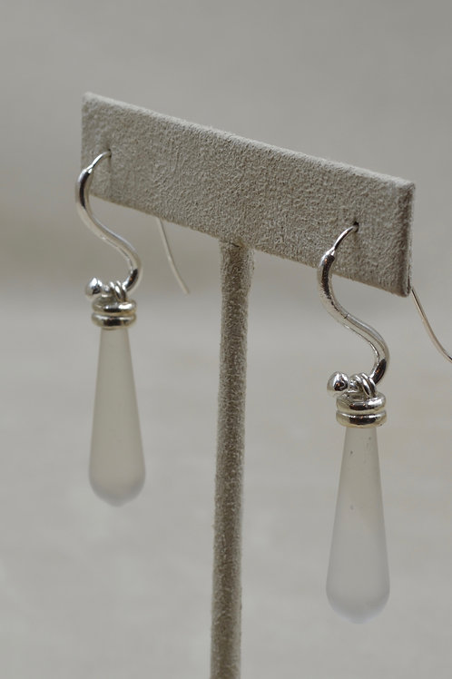 Frosted Quartz Crystal and Sterling Silver Earrings by Michele McMillan