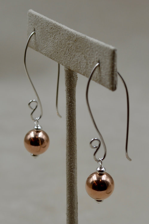 S. Silver Long Fish Hook Earrings w/ 14k Gold Filled Bead by Sippecan Designs