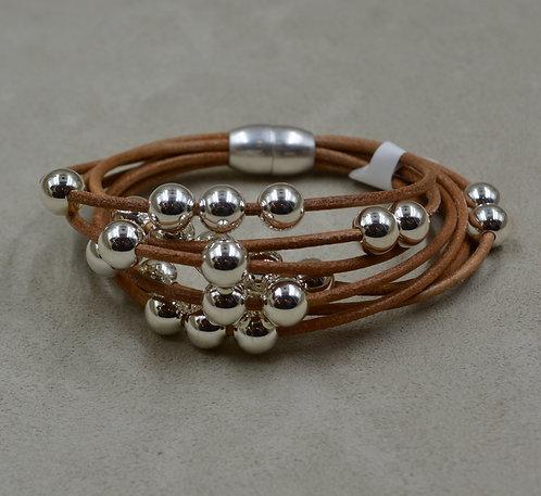 Tan Multi-Strand Sterling Silver Beaded Bracelet by Sippecan Designs