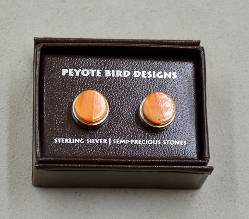 3-D Large Round Spiny Oyster Post Earrings by Peyote Bird Designs
