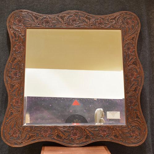 Large Handtooled Leather Mirror