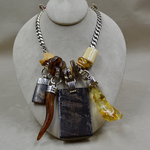 Charms, Water Buffalo Antler, Jasper, Ivory, Amber Necklace by Melanie DeLuca