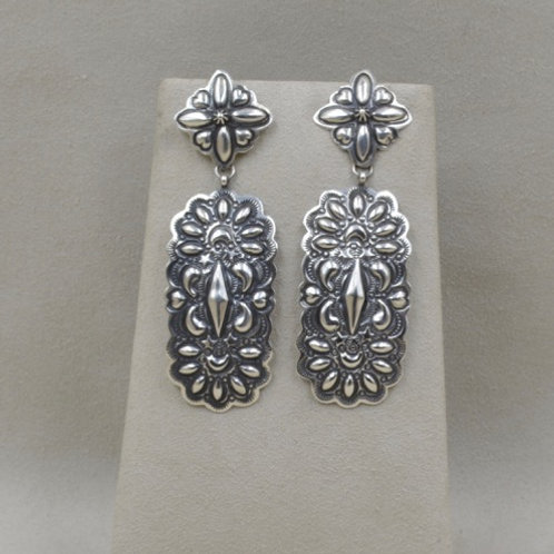 D Becenti Sterling Silver Stamped Posts Earrings by Shoofly 505