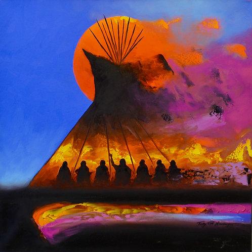 """When the Great Spirit Hears My..."" Oil on Canvas - 36"" x 36"" - Tim Nevaquaya"