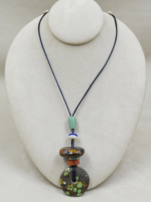 Silk Cord Necklace w/ Chinese Turquoise, Carnelian, Amber, Jade & Lapis