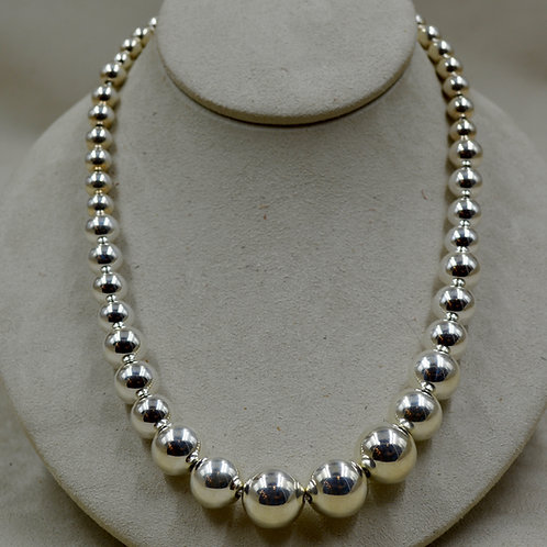 Graduated Large Sterling Silver Beaded Necklace by Sippecan Designs