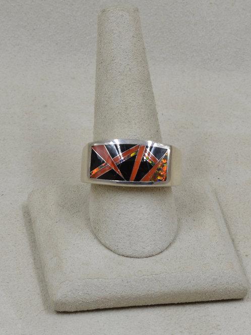 Black Jade, Red Lab Opal, & Sterling Silver 12x Ring by GL Miller Studio