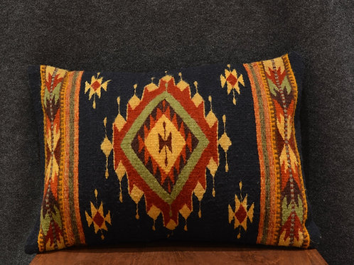 "Set of 2 Double Sided Navy Zapotec Pillows - 15"" X 20"""