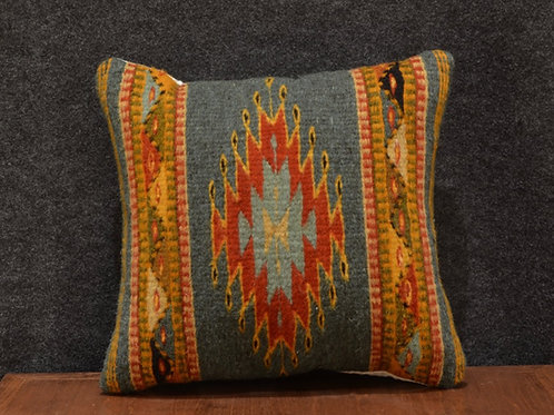 Set of 2 Centered Geometric Green Zapotec Peanut Pillows