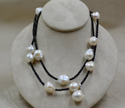 Baroque Pearls, Black Spinel Necklace w/ Pearl Enhancer by Reba Engel