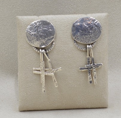 Sterling Silver Reticulated Disc with Three Cross by Richard Lindsay