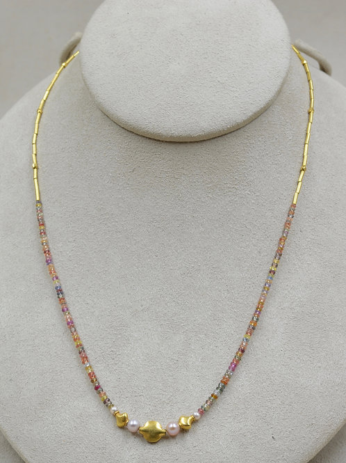 Small Sapphire Rondels, Pearls, 22k Gold Necklace by Joan Kallas