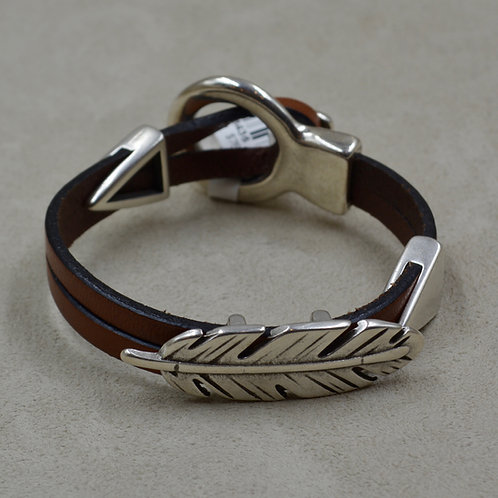 Brown Feather 2 Tri Sliders Plated Bracelet by Sippecan Designs