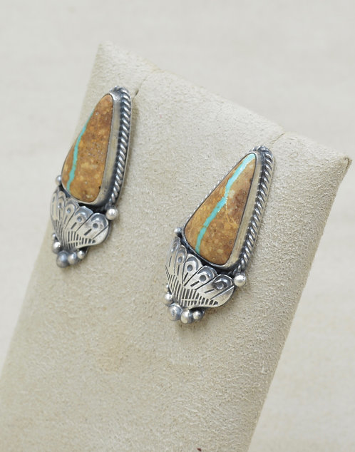 Sterling Silver Royston Ribbon Turquoise Post Earrings by Leonard Chee
