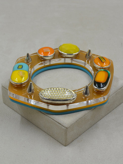 Vintage Acrylic, S. Silver Studs, Daichroic Cabs Bangle by Melanie DeLuca