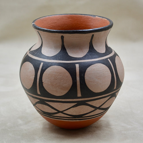 "Hand Painted and Built Kewa Style Vase 5 1/2"" x 5 1/4"" by Robert Tenorio"