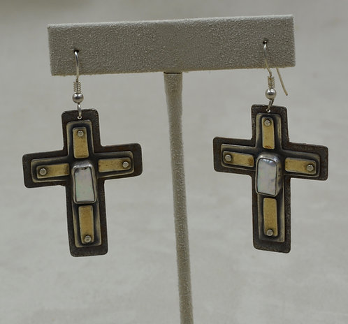 Rusted Cross, S. Silver, Freshwater Pearl, Brass Earrings by Richard Lindsay