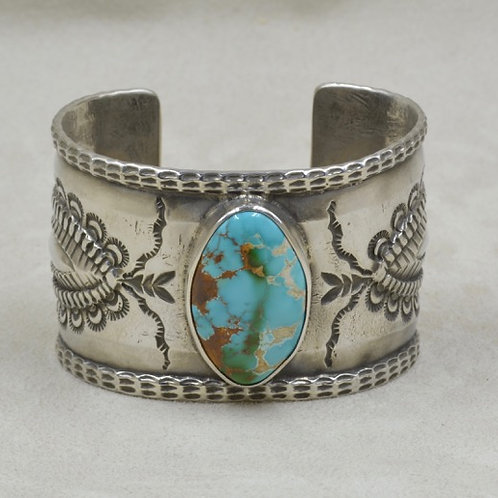 Nat.Royston Turquoise Hand Hammered Ingot Repousse, Stamped Cuff by Jerry Faires