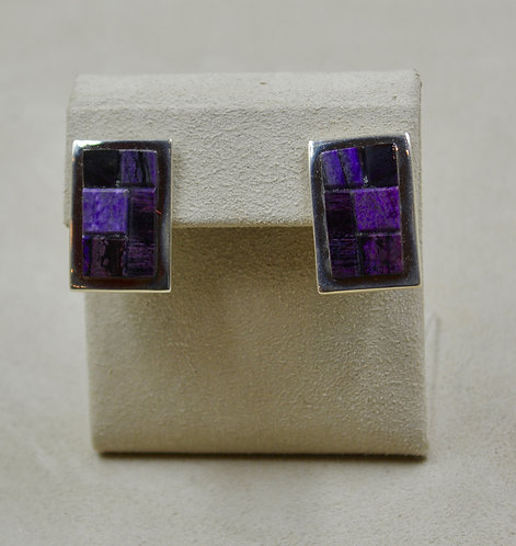 Sugilite Inlay Sterling Silver Post Earrings by Tommy Jackson