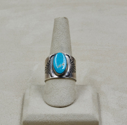 Royston Blue Turquoise & Stamped Sterling Silver 9x Ring by Red Rabbit Trading